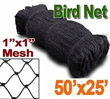 "New 1"" Mesh Hole, Anti Bird Poultry Gardening Protective Netting 25ft x 50ft 369"