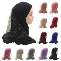 Women ladies Children One Piece Pearl Floral Bead Scarf Hijab Muslim Islamic hat