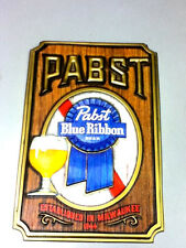 Pabst blue ribbon beer sign vintage 3-d wall tacker plaque PBR schooner glass j4