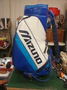MIZUNO 6 WAY DIVIDER GOLF STAFF BAG, BLUE WHITE ~ VERY NICE - w/rainhood - RS