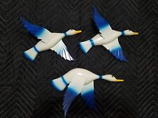 """HANDMADE ART INTARSIA WOODEN WALL PLAQUE """"3 BIRDS WHITE AND BLUE"""""""