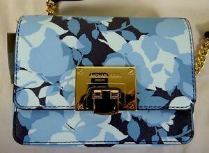 Michael Kors Tina Floral Navy Blue Leather XSmall Clutch Crossbody Bag