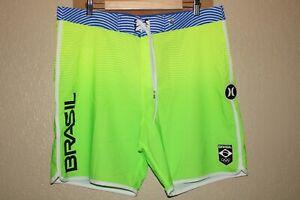 "HURLEY BRASIL Olympics Mens 36"" Waist Recycler 14%Spandex Boardshorts/Surf/Swim"
