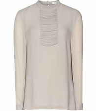 SABINE Pleat-Panel BLOUSE Light Grey UK4 EU32 Reiss