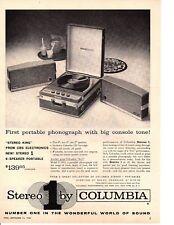 1959 COLUMBIA STEREO PORTABLE PHONOGRAPH / RECORD PLAYER ~ ORIGINAL PRINT AD