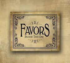 Printed Favors Wedding sign 5x7 Vintage Black tie design - Wedding signage