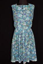 VINTAGE 1960'S-1970'S SHEER ACETATE BLUE FLORAL DRESS SIZE 10-12