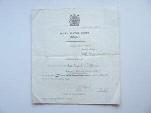 Royal Flying Corps Certificate A Flying Course Lieutenant Leonard I T Hewer RFC