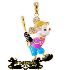 MIKEY MOUSE PENDANT,  NECKLACE ENAMEL COATED WITH RHINESTONES