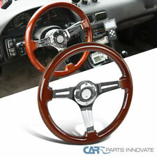 "340MM 13.5"" Aluminum 3 Spoke Classic Wooden Wood Grain Deep Dish Steering Wheel"