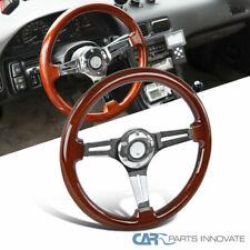 "340MM 13.5"" Aluminum 3 Spoke Classic Wooden Wood Grain Deep Dish Steering Wheel"