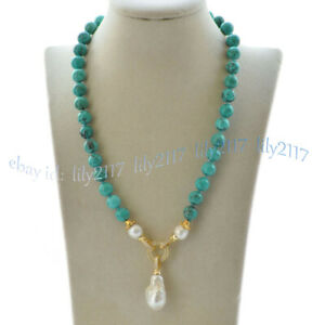 10mm Green Turquoise Natural White Keshi Baroque Pearl Pendant Necklace 16-28''