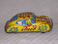 1960's Vintage Tin Litho Friction Yellow STP TAXI Car Kashiwai Toy Made in Japan