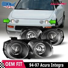 Fits 94-97 Acura Integra LED Halo Rings Projectors Black/Clear Headlights PAIR