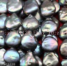 Charming 11-12mm Coin Pearl Black Loose Bead 15'' AAA