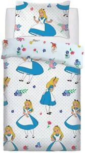 Single Bed Duvet Cover Set Alice In Wonderland Floral Polkadot Reversible