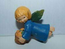 Anri Christmas Ornament Flying Angel Basket of Peaches~ Blue ~Wood~ Italy