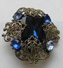 Vintage Art Deco Brooch  Gold T Filigree Saphire  Blue Tone Stones Pin