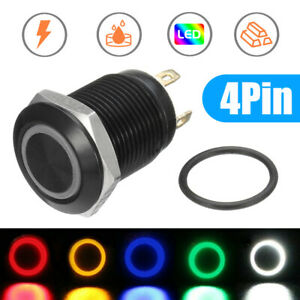 12mm 12V 4Pin Angel Eye LED Push Button Metal Switch ON/OFF Waterproof Parts