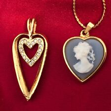 blue cameo + rhinestone heart, Valentine!  Two Costume gold tone pendants: repro