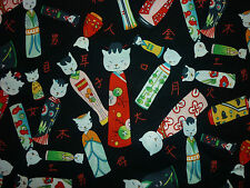 CLEARANCE FQ KITTY KOKESHI CAT DOLLS FABRIC JAPANESE ALEXANDER HENRY