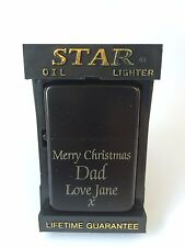 Personalised Engraved Black Lighter with Star Box -  Birthdays, Father's Day