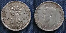 MONETA COIN MONNAIE GREAT BRITAIN GRAN BRETAGNA KING GEORGE VI° SIX PENCE 1945