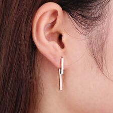 Ear Jacket 24K Gold Plated Geometric T Sterling Silver Bar Earrings, Front Back