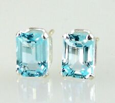 Blue Topaz Emerald cut Stud Earrings .925 SS Sterling Silver 2.40CT