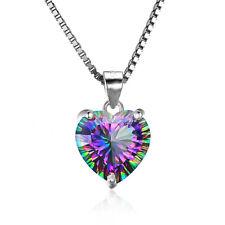 925 Silver Mystic Topaz / Red Garnet Cut Gemstone Pendant Necklace Chain Jewelry