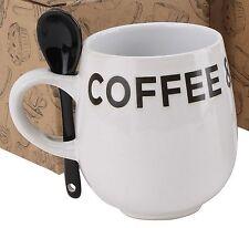 Contemporaneo Housewares STONEWARE Caffè e Biscotti Tazza Set Con Cucchiaio ~ WHITE