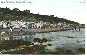 Folkestone 1904 Postcard - West End Bathing Ground