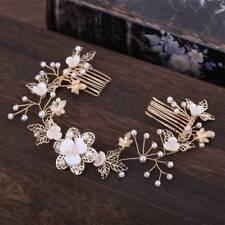 Bride Flower Leaf Hair Comb Wedding Crystal Pearl Clip Slide Tiara Headwear