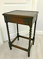Vintage Antique Dark Brown Wooden Side End Hall Table Barley Twist Legs Ornate