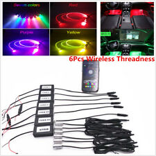 6Pcs Wireless Threadness Thread-free Ambient Light Car Atmosphere Light Lamp APP