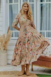 JAASE WOMEN'S TESSA MAXI DRESS AKINA BEIGE FLORAL PRINT GENEROUS SIZING