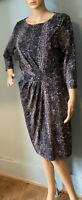 M & S Autograph Ruched Snake Print Stretch Pencil Dress U.K. Size 14 Black Mix