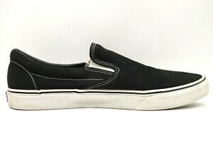 Vans Off The Wall Logo Black Canvas Casual Slip On Loafers Shoes Men's 13