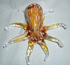 "Vintage Murano style Hand Sculpted Octopus Art Glass Sculpture 7"" x 7"""