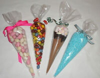 Clear Cone Cello Party, Favor, Treat, Sweet Candy Gift Empty Bags & Ties