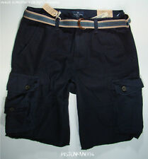 American Eagle Mens Navy Blue Belted Frayed Cargo Shorts 34 NWT