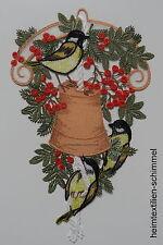 PLAUENER SPITZE ® Fensterbild WEIHNACHTEN Vögel MEISENGLOCKE Meisen WINTER Deko