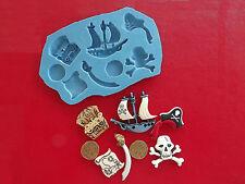 Tesoro De Piratas De Silicona, Molde, en el pecho Monedas Calavera Cake Decorating Cup Cakes