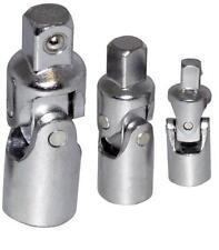 "Universal Joint Socket Set 3pc Knuckle Bendy Bendable  Adaptor 1/2"" 3/8"" 1/4"""