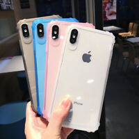 For iPhone XS Max XR X 8 7 6 Shockproof Bumper Transparent Silicone Case Cover