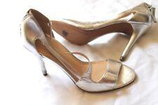 Nine West Simplistic Asymetrical Evening Pumps Silver High Heels Size 7.5  7 1/2