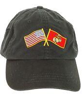 Fleet Reserve Association USA and Marine Corps Flags Blue Military Ball Cap Hat