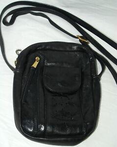Vintage Leather Crossbody Bag Black Pockets Compartments Long Adjustable Strap