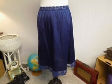 Vintage Cotillion Navy Blue Nylon and Lace A-Line Half Slip Small