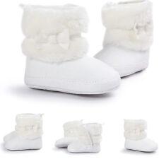 Newborn Kids Baby Girls Winter Snow Shoes Soft Sole Prewalker Crib Plush BOOTS White S